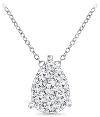 Auriya 14k Gold 1/2ct TDW Pear Shaped Pave Diamond Necklace by Auriya