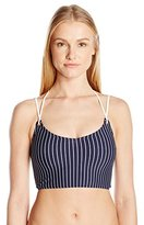 Tommy Hilfiger Women's New England Stripe V-Neck Cropped Bikini Top with Lace up Back