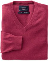 Charles Tyrwhitt Coral Cotton Cashmere V-Neck Cotton/cashmere Sweater Size XXL