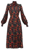 Françoise Francoise - Floral-print Bow Neck Silk Midi Dress - Womens - Navy Multi