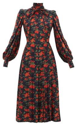 Françoise Francoise - Floral-print Bow Neck Silk Midi Dress - Navy Multi