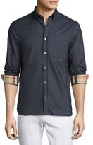 Burberry Long-Sleeve Oxford Shirt w/Check Revers, Charcoal