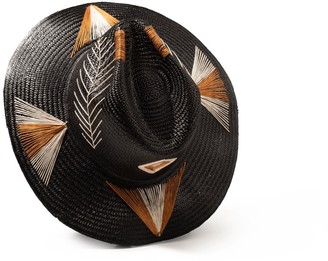 P'ook By Arlop Handwoven Toquilla Straw Cubano Hat - Black