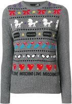 Love Moschino striped crew neck jumper