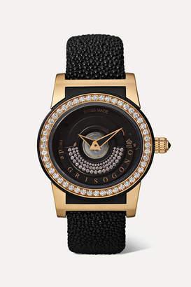 de Grisogono Tondo By Night S16 Automatic 43mm 18-karat Pink Gold, Fiberglass, Stingray And Diamond Watch - Rose gold