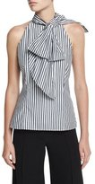 Milly Striped Shirting Halter Top, Black
