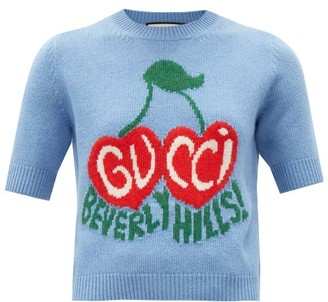 Gucci Logo-jacquard Short-sleeved Wool Sweater - Blue