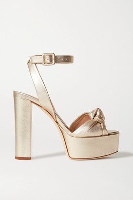 Giuseppe Zanotti Knotted Metallic Leather Platform Sandals - Gold