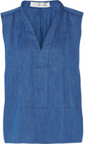 Victoria Beckham Denim - Pleated Cotton-chambray Top - Blue