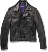 Ralph Lauren Purple Label Distressed Leather Biker Jacket