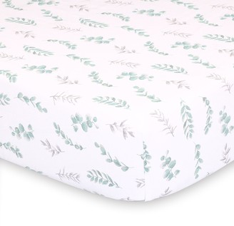 The Peanut Shell Farmhouse Floral Leaves Fitted Crib Sheet