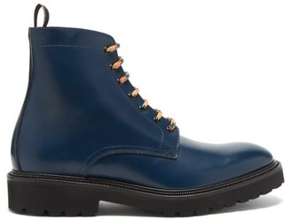 Paul Smith Farley Laced Leather Ankle Boots - Blue