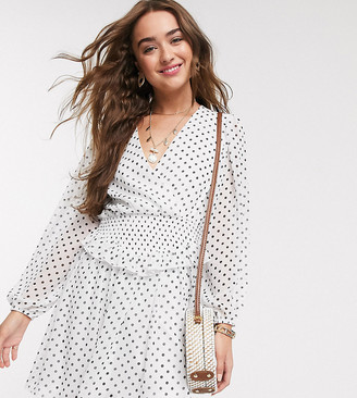 ASOS DESIGN Petite wrap front shirred waist mini skater dress in spot