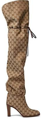Gucci Women's Canvas Over-The-Knee Boots - Lt. brown