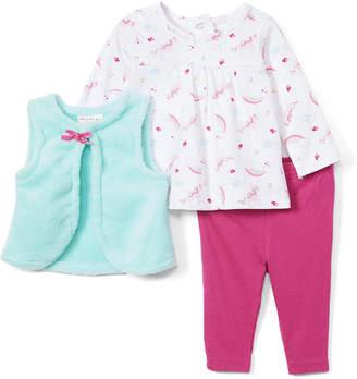 Wee Play Girls' Outerwear Vests Aqua - White & Hot Pink Rainbow Long-Sleeve Bodysuit Set - Infant