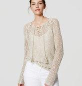 LOFT Petite Lace Up Sweater