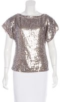 Alice + Olivia Short Sleeve Sequin Blouse