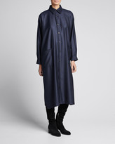 eskandar Wool-Silk Slim A-Line Shirtdress