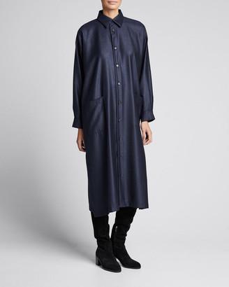 eskandar Wool-Silk Slim A-Line Shirtdress