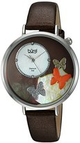 Burgi Women's Silver-Tone Case with Genuine Diamond Accented Butterfly Design Mother-of-Pearl Dial on Brown Leather Strap Watch BUR158BR