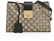 Gucci Women's Small Canvas-Print Leather Padlock Shoulder Bag
