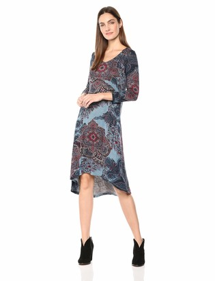 One World ONEWORLD Women's 3/4 Sleeve Lattice Back Hi Lo Hem Dress