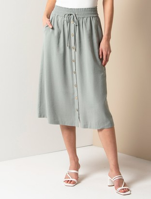 Forever New Cora Elasticated Midi Skirt - Soft Moss - 10