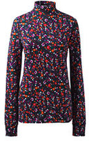 Lands' End Women's Petite Relaxed Cotton Mock Turtleneck-Classic Navy Floral