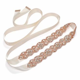 SWEETV Rhinestone Bridal Belt Wedding Dress Belt Bridesmaid Sash Crystal Applique for Evening Gown