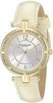 Stuhrling Original Women's 550.04 Vogue Quartz Crystal Bezel Beige Leather Strap Watch