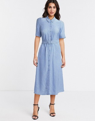 And other stories & ditsy floral print belted midi shirt dress in blue