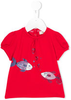 Armani Junior fish print top - kids - Cotton/Spandex/Elastane - 6 mth