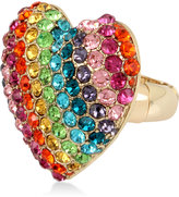 Betsey Johnson Gold-Tone Pavé Rainbow Heart Stretch Ring
