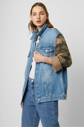 French Connection Tyra Camo Slouchy Western Denim Jacket