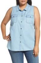 Sejour Plus Size Women's Sleeveless Denim Shirt