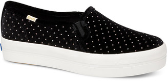 Kate Spade Keds x Women's Sneakers BLACK - Black Dot Velvet Triple Decker Slip-On Sneaker - Women