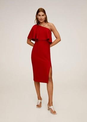 MANGO Asymmetrical ruffle dress red - 2 - Women