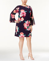 Jessica Howard Plus Size Printed Bell-Sleeve Shift Dress