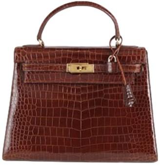 Hermes Kelly 28 Brown Crocodile Handbags