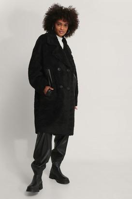 NA-KD Oversized Teddy Pu Detail Coat