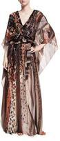 Roberto Cavalli Paillette-Embellished Leopard Silk Chiffon Caftan