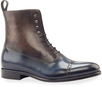 Ike Behar Men's Edge Two-Tone Patina Leather Balmoral Boots