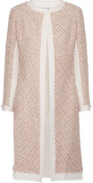 Oscar de la Renta Canvas-trimmed Metallic Tweed Coat - Pastel pink