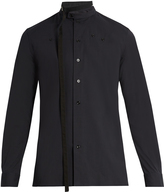 Raf Simons Belted-neck cotton-blend poplin shirt