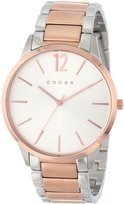 Cross Franklin Men's Quartz Watch with White Dial Analogue Display and Rose Gold Stainless Steel Plated Bracelet CR8003-33