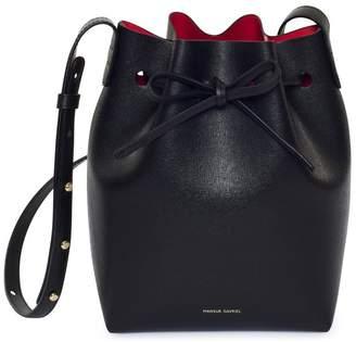 Mansur Gavriel Saffiano Mini Bucket Bag - Black/Flamma