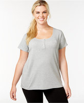 Tommy Hilfiger Plus Size Henley Short Sleeve Top