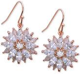 Nina Silver-Tone Cubic Zirconia Flower Drop Earrings