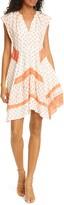 Rebecca Taylor Mixed Print Handkerchief Hem Silk Dress