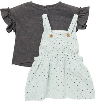 Jessica Simpson Ruffle Short Sleeve Top & Patterned Coverall
